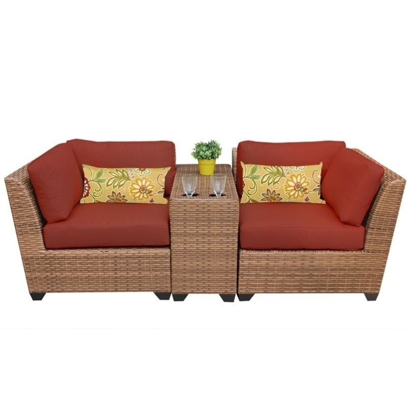Tkc Laguna 3 Piece Outdoor Wicker Sofa Set In Terracotta Laguna 03b Terracotta