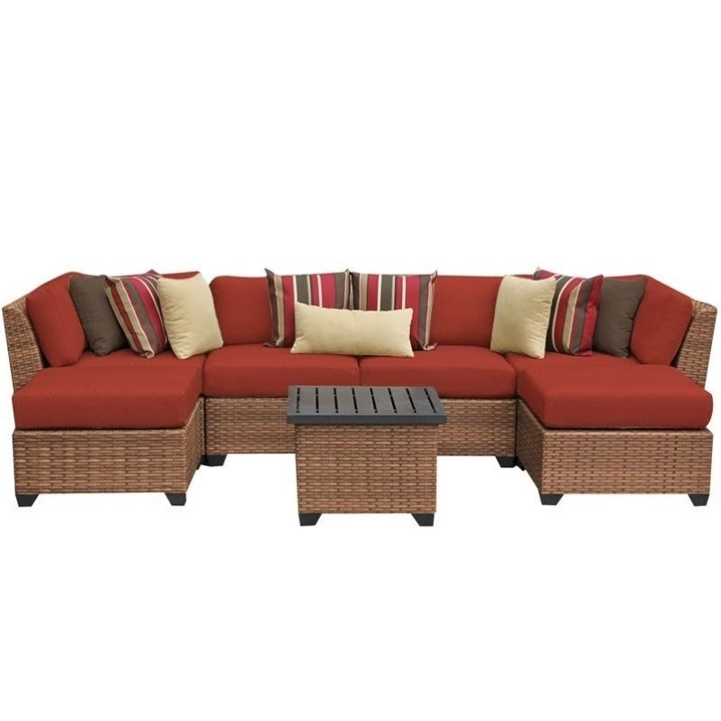Tkc Laguna 7 Piece Outdoor Wicker Sofa Set In Terracotta Laguna 07a Terracotta