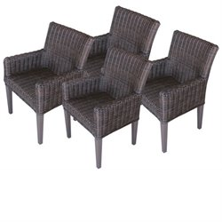 Venice Wicker Patio Arm Dining Chairs (Set of 4)