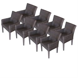 Venice Wicker Patio Arm Dining Chairs (Set of 8)