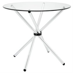 Modway Baton Round Glass Top Dining Table