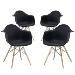 Modway Pyramid Dining Arm Chair in Black (Set of 4)
