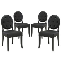 Modway Button Dining Side Chair in Black (Set of 4)