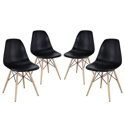 Modway Pyramid Dining Side Chair in Black (Set of 4)