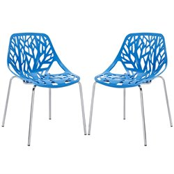 Modway Stencil Dining Side Chair in Blue (Set of 2)