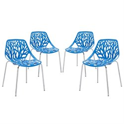 Modway Stencil Dining Side Chair in Blue (Set of 4)