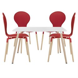 Modway Path 5 Piece Dining Set in Red