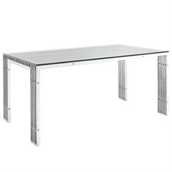 Modway Gridiron Glass Top Dining Table in Silver