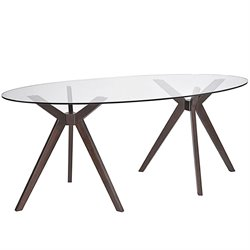 Modway Duet Oval Glass Top Dining Table in Walnut