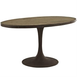 Modway Drive Oval Dining Table in Brown