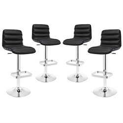 Modway Ripple Adjustable Bar Stool in Black (Set of 4)