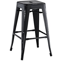 Modway Promenade Metal Bar Stool in Black