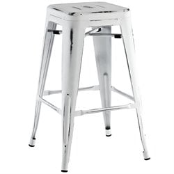 Modway Promenade Metal Bar Stool in White