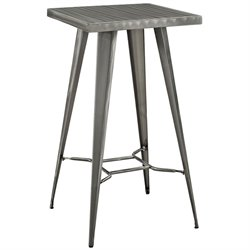 Modway Direct Square Metal Pub Table in Gunmetal