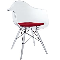 Modway Pyramid Dining Arm Chair in Red