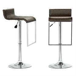 Modway LEM Wicker Adjustable Bar Stool in Espresso