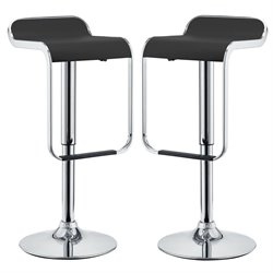Modway LEM Adjustable Swivel Bar Stool in Black (Set of 2)