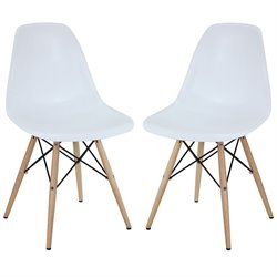 Modway Pyramid Dining Side Chair in White (Set of 2)