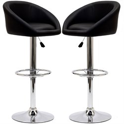 Modway Marshmallow Adjustable Bar Stool in Black (Set of 2)
