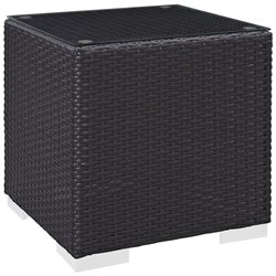 Modway Convene Square Patio End Table in Espresso