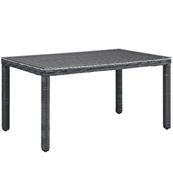 Modway Summon Glass Top Patio Dining Table in Gray