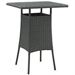 Modway Sojourn Square Patio Pub Table in Chocolate