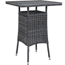 Modway Summon Square Patio Pub Table in Gray