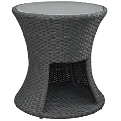 Modway Sojourn Round Patio End Table in Chocolate