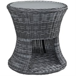 Modway Summon Round Patio End Table in Gray