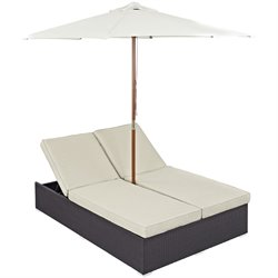 Modway Convene Patio Double Chaise Lounge with Umbrella