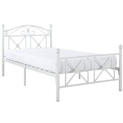 Modway Cottage Twin Metal Bed in White