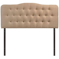 Modway Annabel Tufted Panel Headboard in Beige