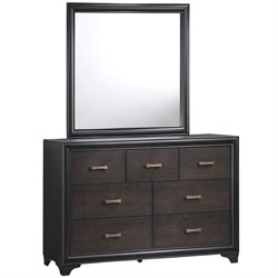 Modway Madison 7 Drawer Dresser and Mirror Set in Walnut