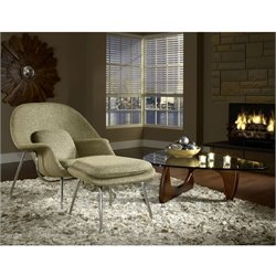 Modway W Fabric Accent Chair with Ottoman