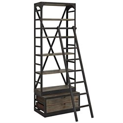 Modway Velocity 5 Shelf Bookcase with Ladder in Brown