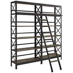 Modway Headway 10 Shelf Bookcase with Ladder in Brown