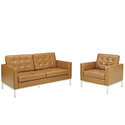 Modway Loft 2 Piece Leather Tufted Sofa Set in Tan