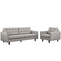 Modway Empress 2 Piece Tufted Sofa Set in Light Gray