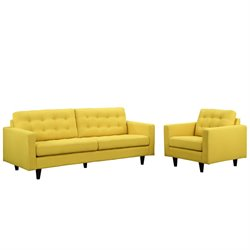 Modway Empress 2 Piece Tufted Sofa Set in Sunny