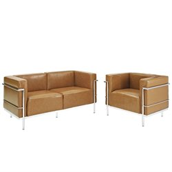 Modway Charles 2 Piece Leather Sofa Set in Tan
