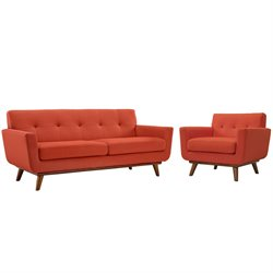 Modway Engage 2 Piece Sofa Set in Atomic Red