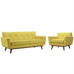 Modway Engage 2 Piece Sofa Set in Sunny