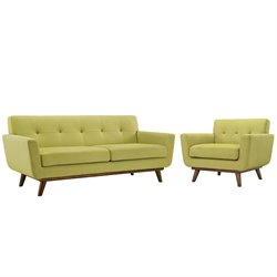Modway Engage 2 Piece Sofa Set in Wheat