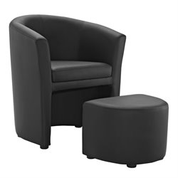 Modway Divulge Faux Leather Accent Chair with Ottoman