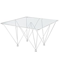 Modway Prism Square Glass Top Coffee Table in Silver