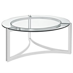 Modway Signet Round Glass Top Coffee Table in Silver