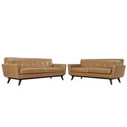 Modway Engage Leather Sofa Set in Tan 2