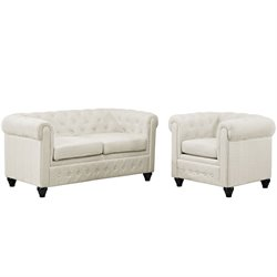 Modway Earl 2 Piece Fabric Tufted Sofa Set