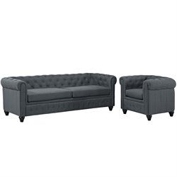Modway Earl 2 Piece Fabric Tufted Sofa Set 2