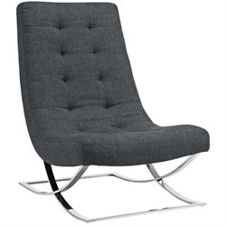 Modway Slope Fabric Tufted Accent Chair in Gray
